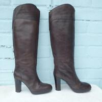 Benetton Leather Boots Size Uk 3 Eur 36 Sexy Womens Brogue Pull on Brown Boots