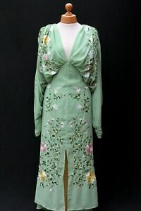 ASOS EDITION Green Floral Embroidered Batwing Midi Party Dress UK 14 42 NEW