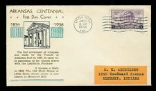 Arkansas Centennial 100th ANniv. 782-37 Unknown FDC Little Rock 1936 + Expo Labe