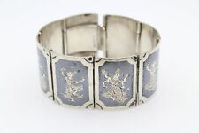 """Vintage Siam Bracelet Size 6.25"""" With Dancing Fairies in Sterling Silver 52g"""