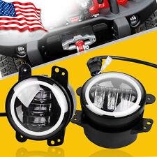 "2X Round 4"" 60W LED Fog Light W/ Halo Angle Eyes DRL For 07-17 Jeep Wrangler"