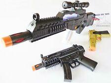 3x Toy Machine Guns Elec Special Forces Rifle MP5 w/ Sound FX Gold 9MM Cap Gun