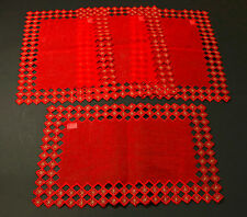 Set of 4 Las Estrellas Collection Place Mats 12x18 inches, Red with Embroidered