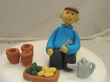Man Gardener Gardening Figure watering can etc dad,grandad Birthday Cake Topper
