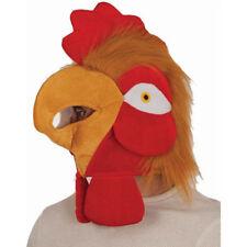 ADULT FURRY PLUSH VELVET CHICKEN HAT ROOSTER COCK BIRD FARM ANIMAL COSTUME MASK