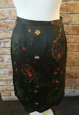 LAURA ASHLEY dark Green Black Silk Style Floral A Line Smart Party Skirt Size 12