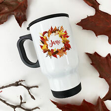 Personalised Autumn Wreath Gift Thermal Travel Mug