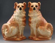 Pair 19C Staffordshire Cavalier King Charles Spaniel Wally Dogs w/ Glass Eyes