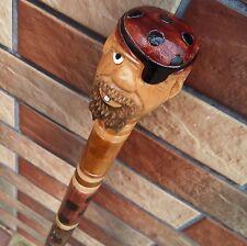 PIRATE Cane Walking Stick Wooden Handmade Wood Carving Exclusive Folk Art