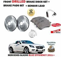 FOR MERCEDES SLK200 2011-2016 FRONT DRILLED BRAKE DISCS SET + PADS + SENSOR KIT