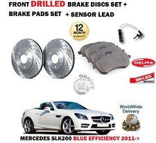 FOR MERCEDES SLK200 BLUE EFFICIENCY 2011-> FRONT DRILLED BRAKE DISCS + PAD KIT