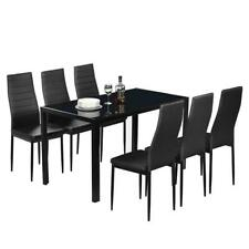 Hot 6 Person Dining Table Set Chairs Black Glass Table Metal Kitchen Room 7PCS