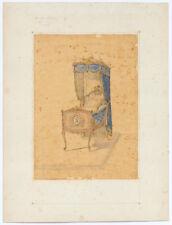 AQUARELLE PROJET DE BERCEAU POUR LE PRINCE IMPERIAL 1856 CH. JEANSELME EBENISTE