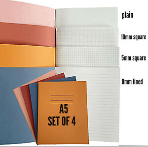 Exercise  Books home school set x 4 x A5 Rhino 80 page Graphs, 8mm lined, plain