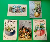 5 Old Antique Vintage Tuck's Postcards HappyEaster Greetings Eggs Flowers Chicks