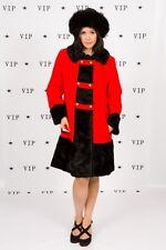 60s 70s vintage red & black wool faux fur military coat Susan Lynn