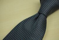 Luciano Barbera Steel Blue Grid Pattern 100% Silk Tie Made in Italy
