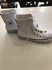 Converse White & Black Leather Chucks High Top Sneakers Women's Size 9 New