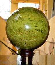 "Large 5"" Green Epidote Crystal Stone Reiki Healing Energy Aura Specimens Sphere"