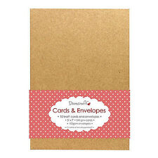 "10 Dovecraft 5"" x 7"" Natural Brown 240gsm KRAFT Cards and Envelopes"