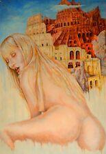 Gemälde Nude Öl/Acryl fine art Kunst Women erotic 53x78 Paper Hure Babylon Girl
