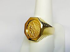 GENUINE INDIAN HEAD 2 1/2 DOLLAR GOLD COIN in 14K GENTS RING MOUNTING