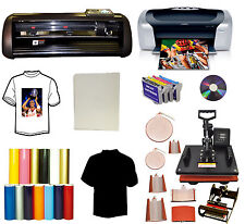 8in1 Combo Heat Press,Vinyl Plotter Cutter Printer CISS PU Vinyl Start-up Bundle