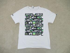 Quiksilver Shirt Adult Medium White Green Logo Surf Surfer Cotton Casual Men A2*