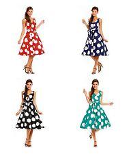 Ladies Retro Vintage 50s Swing Big Polka Dot Rockabilly Dress