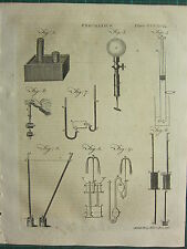 1797 GEORGIAN PRINT ~ PNEUMATICS VARIOUS APPARATUS EXPERIMENTS EQUIPMENT