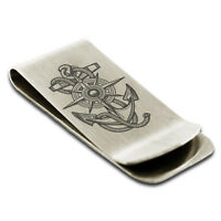 Stainless Steel Nautical Compass Dial & Anchor Slim Wallet Cash Card Money Clip