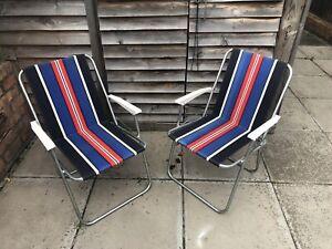 2x Vintage 1970s Retro Black Blue Red Stripe Folding Garden Camping Chairs Metal