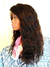 Long brown curly wave virgin 100% Brazilian remy all human hair lace wig, 22 in.