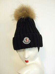 Authentic Moncler Ribbed Wool Black Hat with Real Fur Pompom