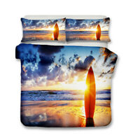 Novelty Gift Sea Waves Beach Surfing Surf Board Adult Kids Duvet Quilt Cover Set