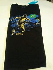 Brand new black blue and yellow Brazil Soccer junior T-shirt in a boy large