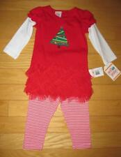 NWT SWEET POTATOES GIRLS 2T Red & White STRIPE Christmas Tree 2PC Outfit CUTE!