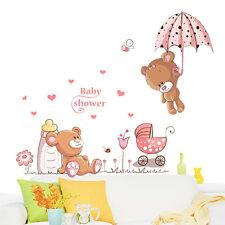 Cartoon Teddy Bear Flower Wall Sticker Mural Baby Girls Room Kids Home Decor