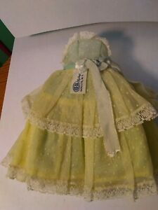 "Vintage green doll dress for a Ideal 10 1/2"" Miss Revlon doll factory mistake"