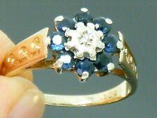 9ct Gold Sapphire & Diamond Cluster Vintage Hallmarked Ring size M