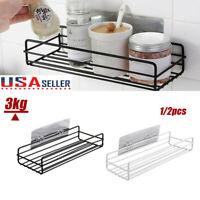 1/2pcs Kitchen Bathroom Shower Shelf Rack Organizer Holder Wall Mounted Basket