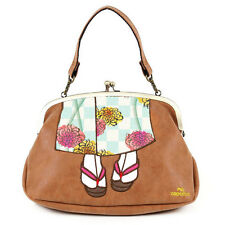 mis zapatos 3-way shoulder bag with cute Kimono design from Japan (Camel)