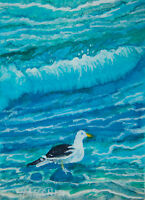 Original ACEO / Seascape Seagull Waves / Original Watercolour by Sergej Hahonin