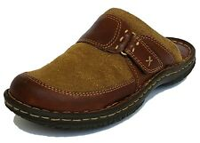 BORN Olive Green Suede Brown Leather Slip On Mule Comfort Shoes Flats Womens 7