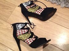 Primark @ Atmosphere Limited Edition High Heel Tribal Print Peep Toe Shoes New 8