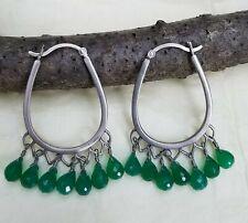 NEW Satya Express Yourself Sterling Silver Green Onyx Hoop Earrings
