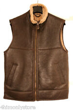 LADIES S 12 AVIATOR SHEEPSKIN LEATHER CENTRE ZIP GILET JACKET 2 POCKETS BROWN