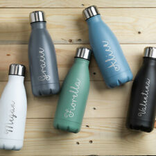 PERSONALISED Metal Water Bottle Matt finish Pastel Colours Sports Yoga Any Name