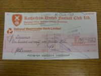 10/06/1983 Rotherham United: Official Club Cheque - payable to John Seasman. Foo