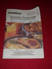 Goldstar Automatic Breadmaker Instructions & Cooking Guide Booklet HB-152CE